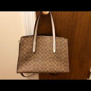 Coach khaki medium sized tote signature leather